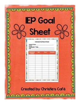 IEP Goal Sheet