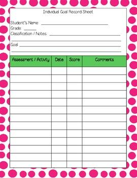 IEP Goal Sheets in Polka Dots