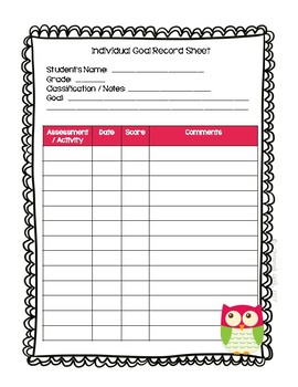 IEP Goal Sheets with Owls