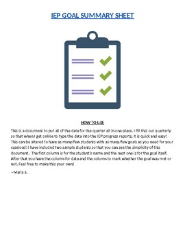 IEP Goal Summary Sheet