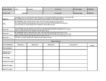 IEP Goal's Data Collection Sheets Microsoft Excel