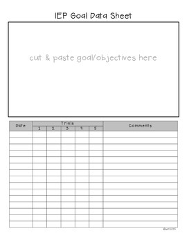 IEP Goal/Objective Data Sheet