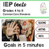 IEP Goals Bundle Common Core Upper Grades 4 to 8;  MATH and ELA