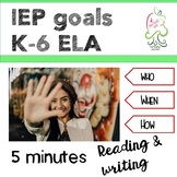 IEP Goals Language Arts Kindergarten to sixth grade. Common core SMART