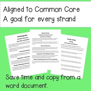 IEP Goals Language Arts Kindergarten to sixth grade. Common core SMART