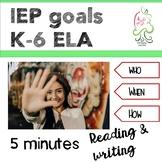IEP Goals Language Arts Kindergarten to sixth grade. Commo