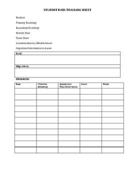 IEP Goals/Objectives Data Tracking Sheet