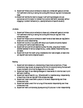 IEP Goals - Sample for student with Autism Spectrum Disorder (ASD)