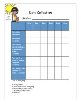 IEP Goals and Activites for Sentences and Fragments