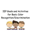 IEP Goals and Activities for Basic Color Recognition/Discrimination