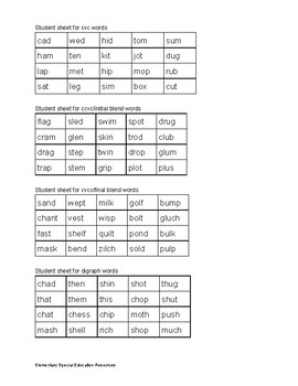 IEP Goals and Data Collection Sheets for short vowel decoding