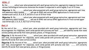 IEP Goals and Objectives for Language Arts
