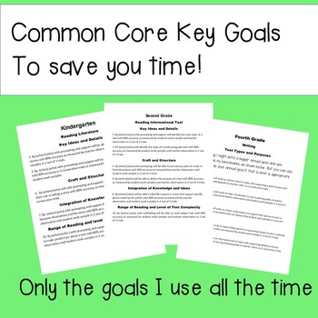 IEP Goals cheat sheet K- 5 reading and writing common core objectives