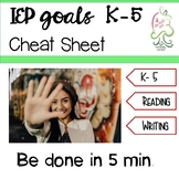 IEP Goals cheat sheet K- 5 reading and writing common core