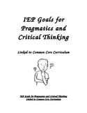 IEP Goals for Pragmatics and Critical Thinking Linked to C