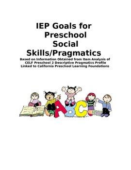 IEP Goals for Preschool Social Skills/Pragmatics
