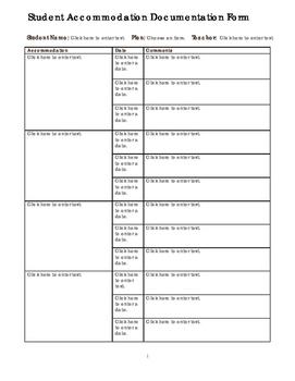 IEP ILP 504 Accommodation Documentation Form Editable