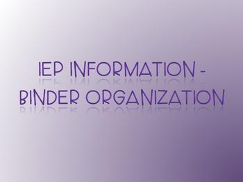 IEP Information - Binder Organization