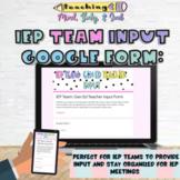 IEP Input Form for General Education Teachers