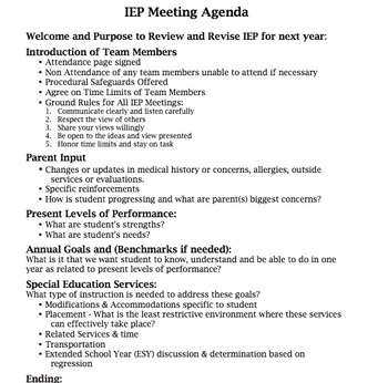 Meeting Agenda Teaching Resources   Teachers Pay Teachers