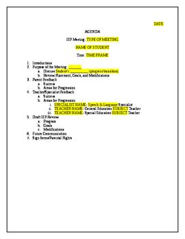 IEP Meeting Agenda