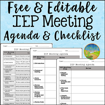 Iep Meeting Agenda And Checklist By Pathway 2 Success Tpt