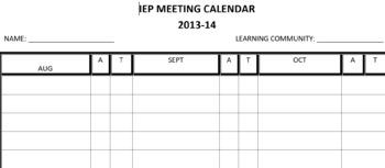 IEP Meeting Calendar 2017/2018 School Year; Organization of IEP's Due!
