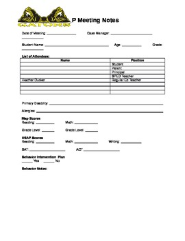 IEP Meeting Form