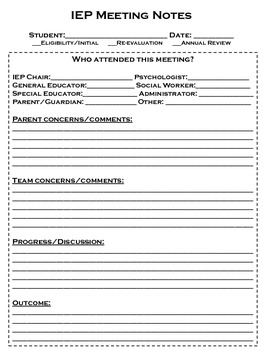 iep meeting note form