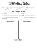 IEP Meeting Note Sheet