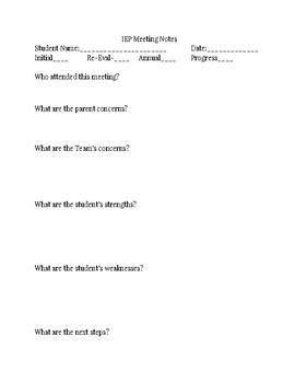 IEP Meeting Notes