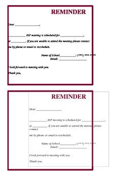 IEP Meeting Parent Reminder