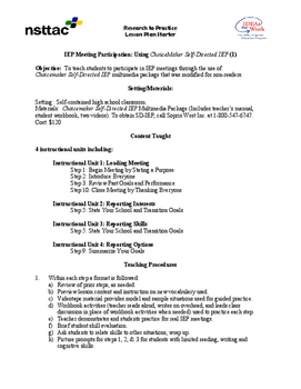 IEP Meeting Participation: Using ChoiceMaker Self-Directed IEP (1)