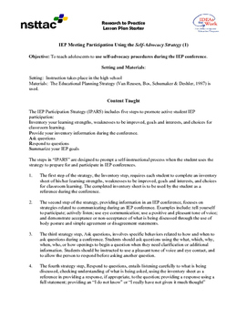 IEP Meeting Participation Using the Self-Advocacy Strategy