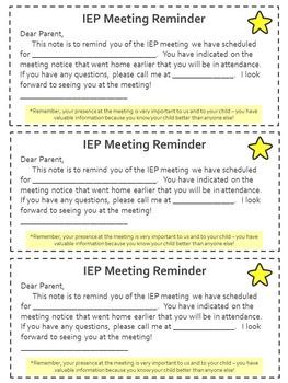 IEP Meeting Reminder - Editable