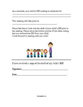 IEP Meeting Reminder Form for Parents