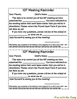 IEP Meeting Reminder Note for Parents (English & Spanish)