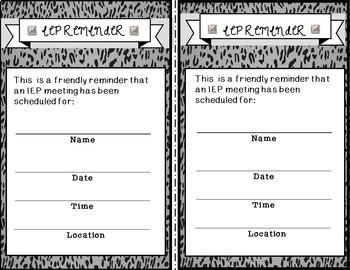 IEP Meeting Reminder Notes