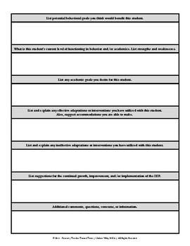 IEP Meeting Prep: General Education Teacher Report Form
