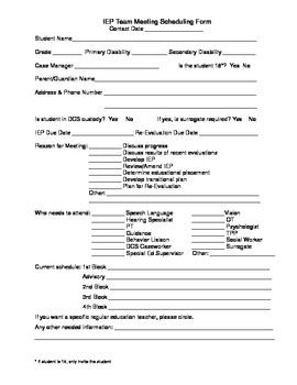 IEP Meeting Schedule Form