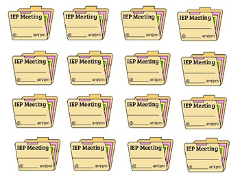 IEP Meeting labels for Planner template