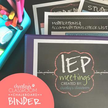 IEP Meetings Binder for the Year (Chalkboard)