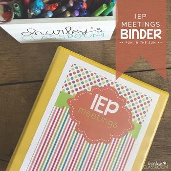 IEP Meetings Binder for the Year (Fun in the Sun)