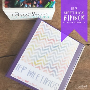 IEP Meetings Binder for the Year (Water Colors)