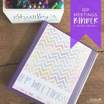 IEP Meetings Binder for the Year (Water Colors)
