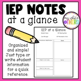 IEP Notes at a Glance