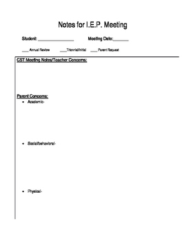 IEP Notes for Meeting