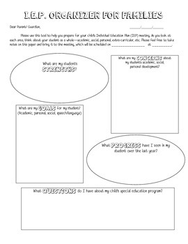 IEP Organizer Worksheet for Families FREEBIE