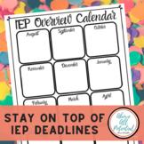 IEP Overview Calendar