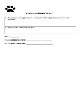 IEP Parent Collaboration Worksheet